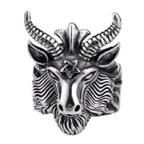 Gothic 316L Stainless Steel Bull with Pentagram Ring for Men