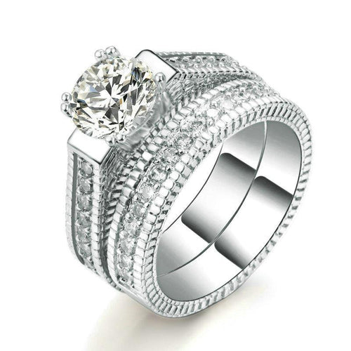 14mm Silver Plated Platinum with Crystal Detailing Women's Jewelry Wedding Band