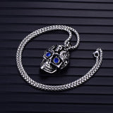 Hip Hop Stainless Steel Multicolor Skull Pendant Necklace