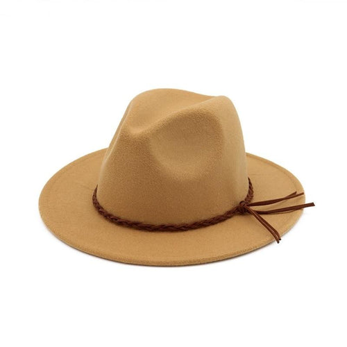 British Style Flat Brim Wool Felt Fedora Hat with Woven Band