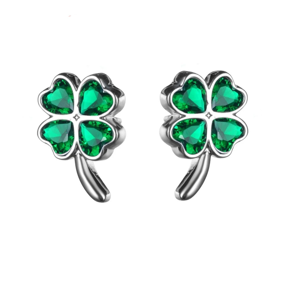 Four Leaf Clover with Green Cubic Zirconia Studded Earrings