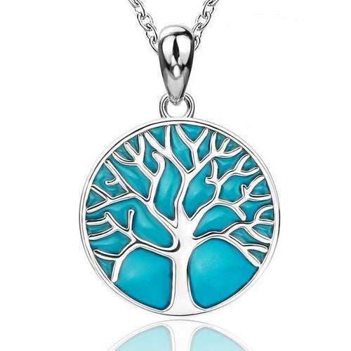925 Sterling Silver with Glowing Enamel Tree of Life Pendant Necklace