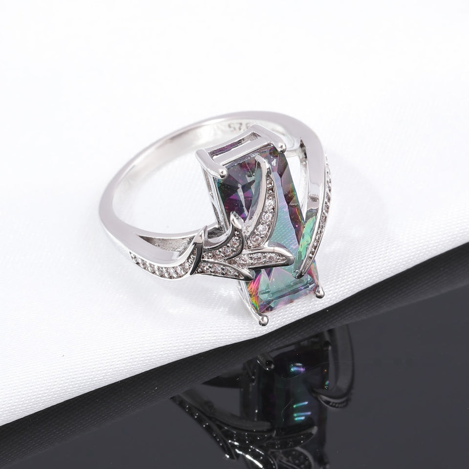 Bohemian Style 18mm Silver Plated Lavish Large Rainbow Mystic Stone Crystal Women's Cocktail Ring