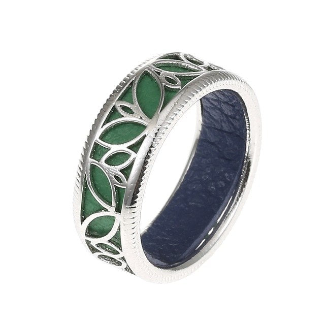 10 Colors Interchangeable Silver Accented Valentine's Gift Women Cocktail Leaf Ring - Innovato Store