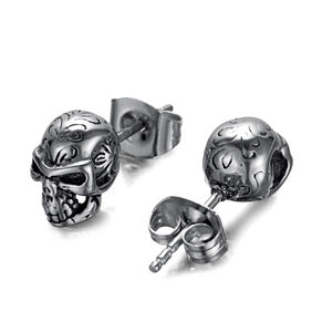 Punk Rock Skull Stud Earrings Pair for Rebellious Women