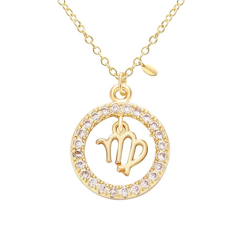 Gold Plated with Cubic Zirconia Virgo Zodiac Pendant Necklace