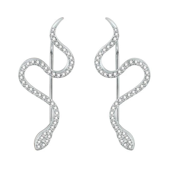 925 Sterling Silver Snake with Inlaid Cubic Zirconia Stud Earrings