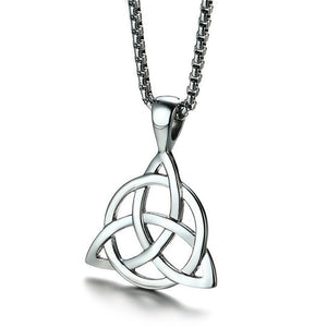 Men's Black Celtic Triquetra Knot Pendant Necklace