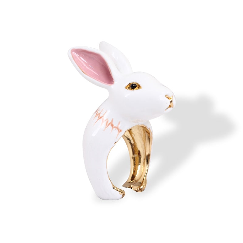 Hand Painted White Gilded Rabbit Ring Fashion Jewelry