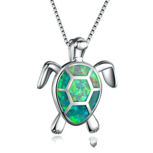 Turtle Shape White Opal Silver Pendant Necklace Women's Jewelry
