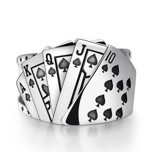 925 Sterling Silver Poker Mens Ring with Adjustable Size - Innovato Store