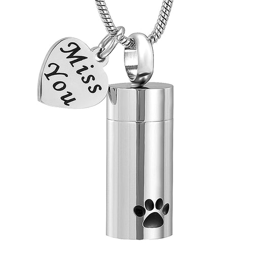 Dog Pet Paw Print Cylinder Cremation Urn Pendant Memorial Necklace