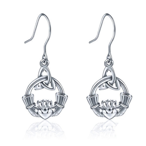 925 Sterling Silver Earring Celtics Knot Claddagh Design Drop Earring
