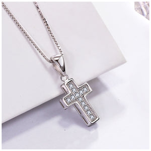 925 Sterling Silver Cross Cubic Zirconia Pave Pendant Necklace