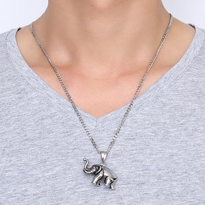 Elephant Pendant Silver-Stainless Steel Necklace
