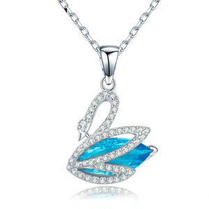 925 Sterling Silver Cubic Zirconia and Rhinestone Swan Pendant Necklace