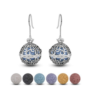 Silver Aromatherapy Lava Stone Flowers Cage Drop Earring