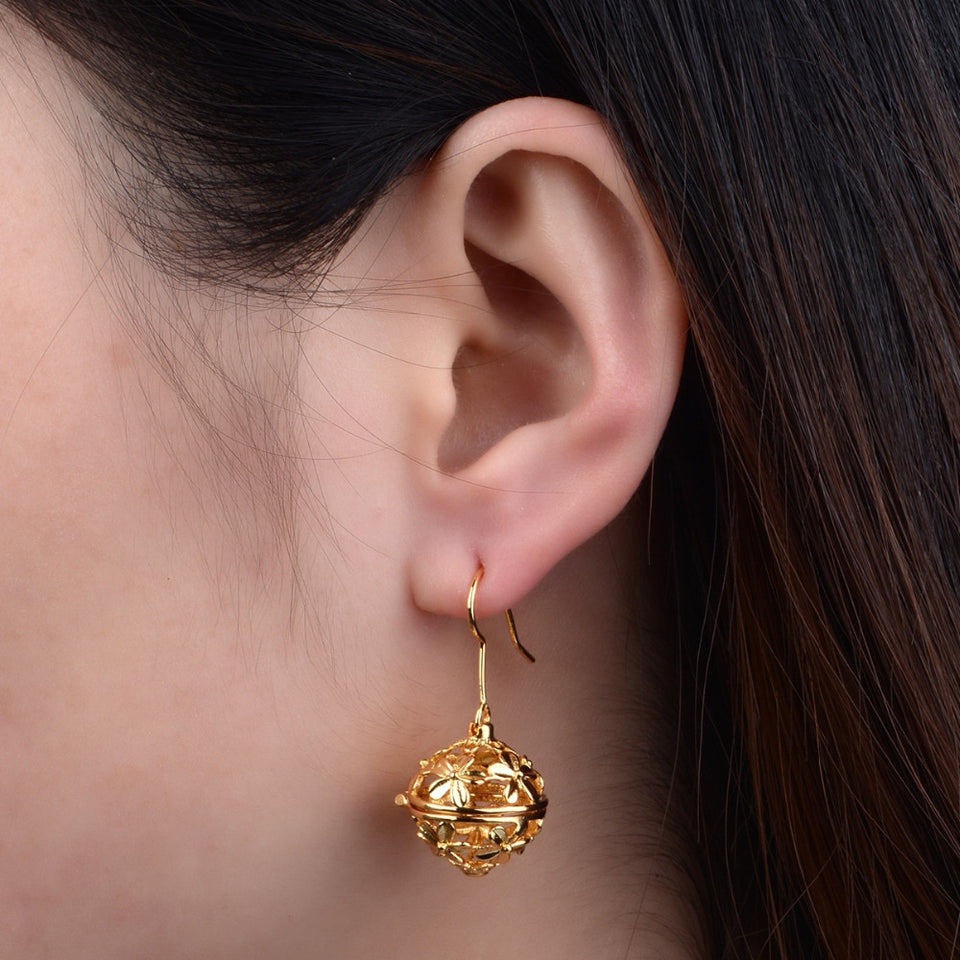 Gold Flower Locket Aromatherapy Lava Stone Dangling Earring