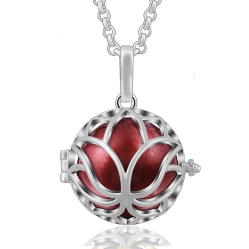 Lotus Floral Harmony Ball Locket Pendant Necklace