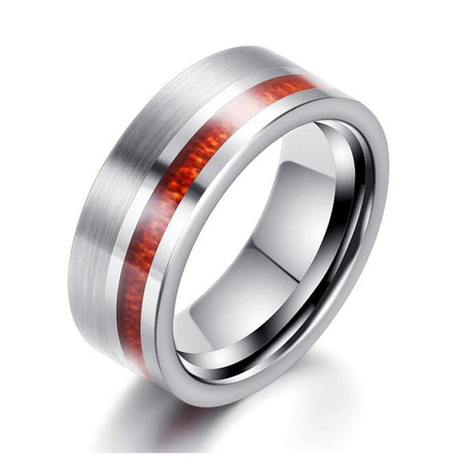 8mm Natural Wood Inlay Silver Tungsten Carbide Wedding Band