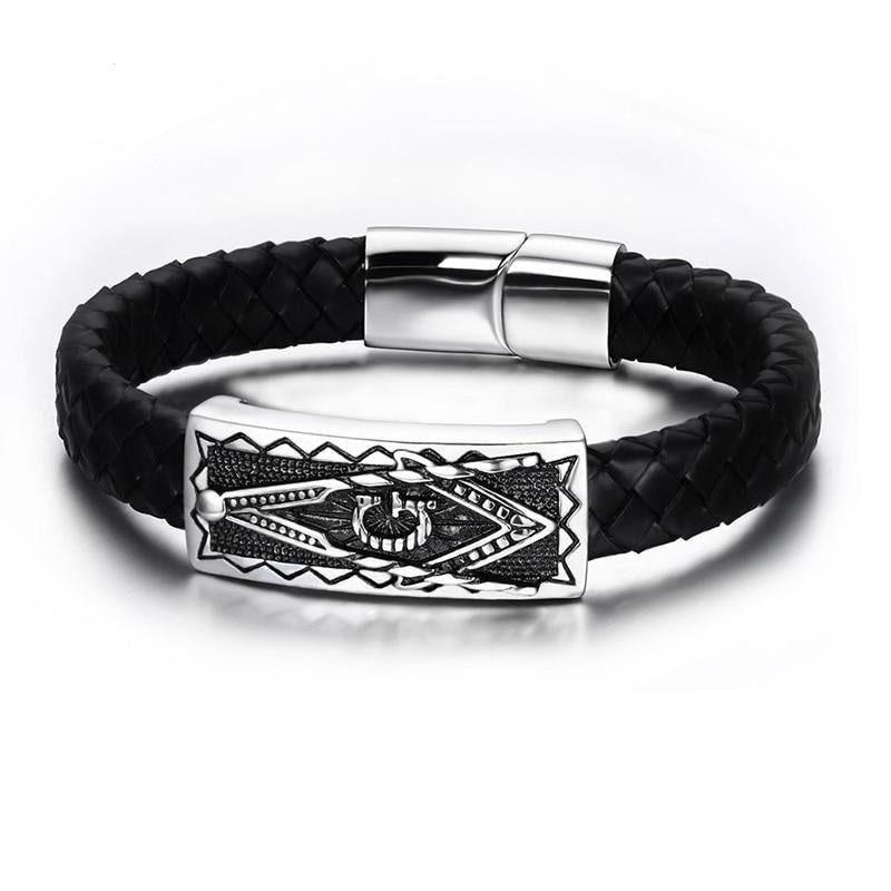 Freemason Stainless Steel in Genuine Black Leather Bracelet