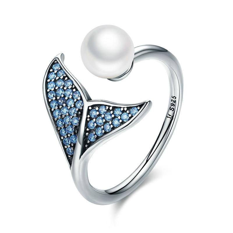 Dolphin Cubic Zirconia and Shell Pearl 925 Sterling Silver Adjustable Ring - Innovato Store