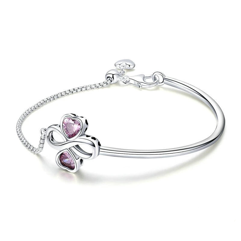 925 Sterling Silver Infinite Heart Clover with Pink Cubic Zirconia Bracelet