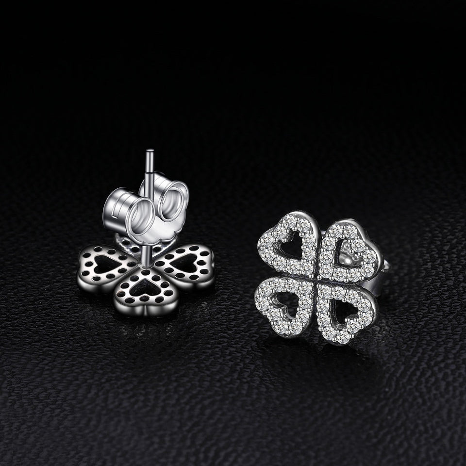 925 Sterling Silver Dazzling Clovers Stud Earrings