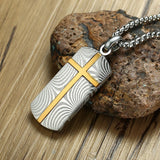 Vintage Damascus Steel with Engraved Cross Pendant Necklace