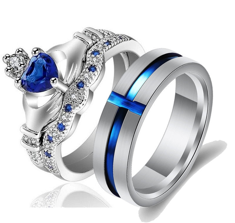 Blue Cross Inlay Tungsten Carbide Band and Blue Claddagh Zirconia Wedding Ring Set