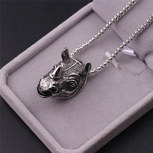 3D Rhinoceros Skull Pendant Necklace for Men