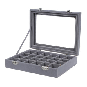 24-Grid Velvet with Glass Jewelry Storage Box