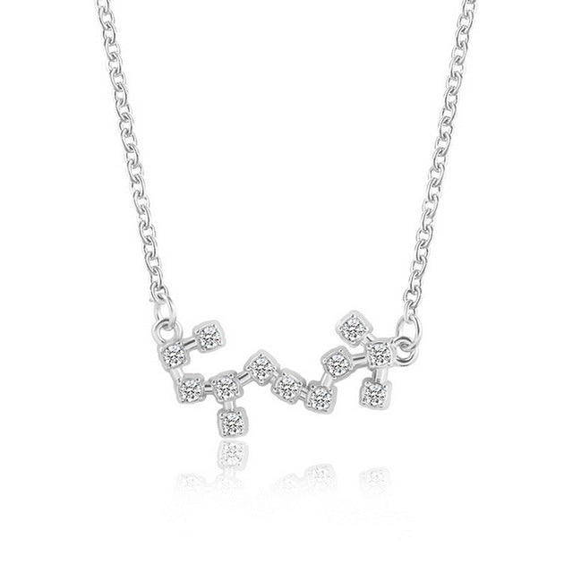 Silver Astrology with Cubic Zirconia Pendant Necklace