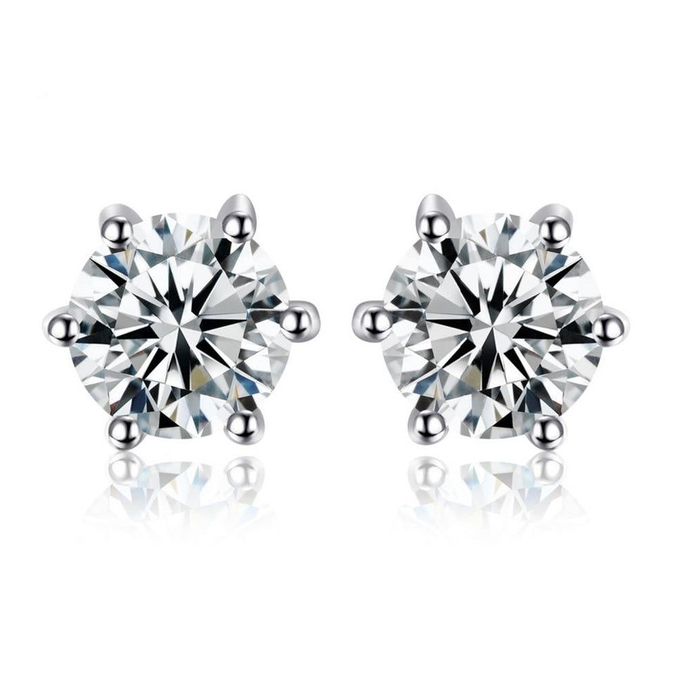 1.2ct Natural White Topaz Stud Earrings 925 Sterling Silver - Innovato Store