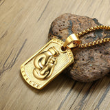 Gold Boxing Gloves Engraved on a Flat Pendant Necklace