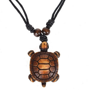 Tribal Sea Turtle Pendant on Lucky Black String Adjustable Necklace