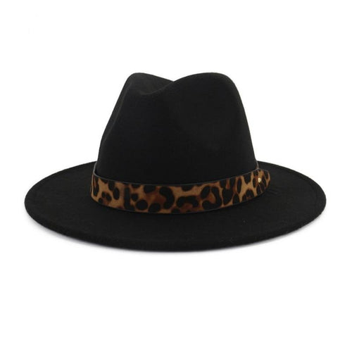 Wool Felt Fedora Hat with Leopard Grain Belt