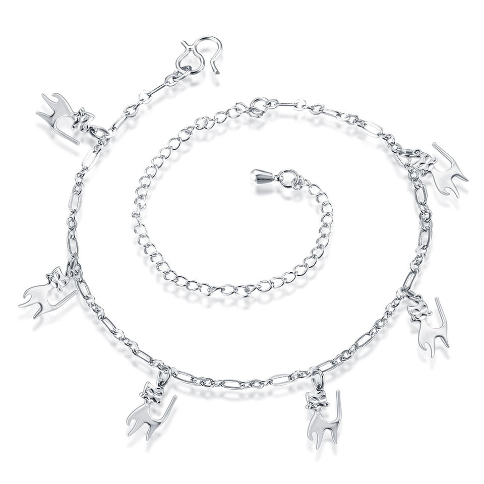 Silver Cat Anklet Bracelet For Women