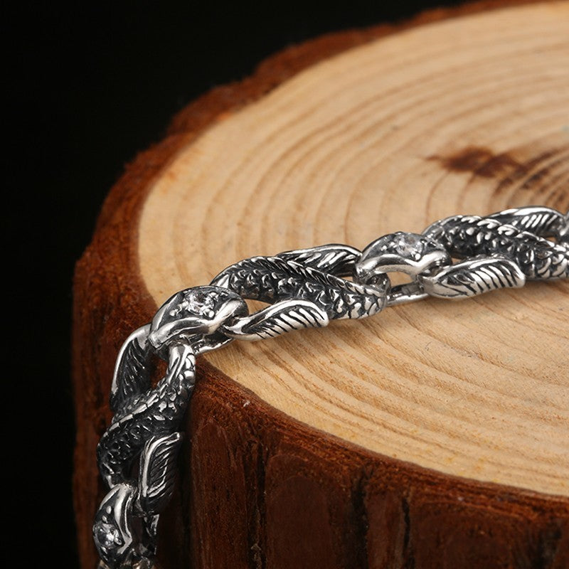 Cubic Zirconia Red Eye Dragon 925 Sterling Silver Biker Bracelet
