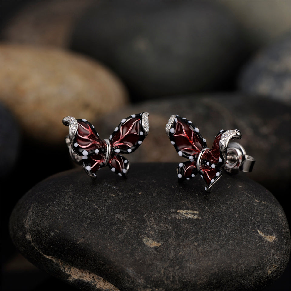 Butterfly Cubic Zirconia Stud Earrings 925 Sterling Silver Women's Jewelry