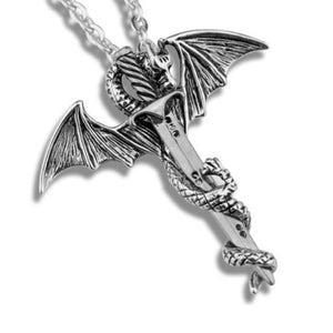 Luxury Silver and Gold Plated Dragon Necklace with Sword