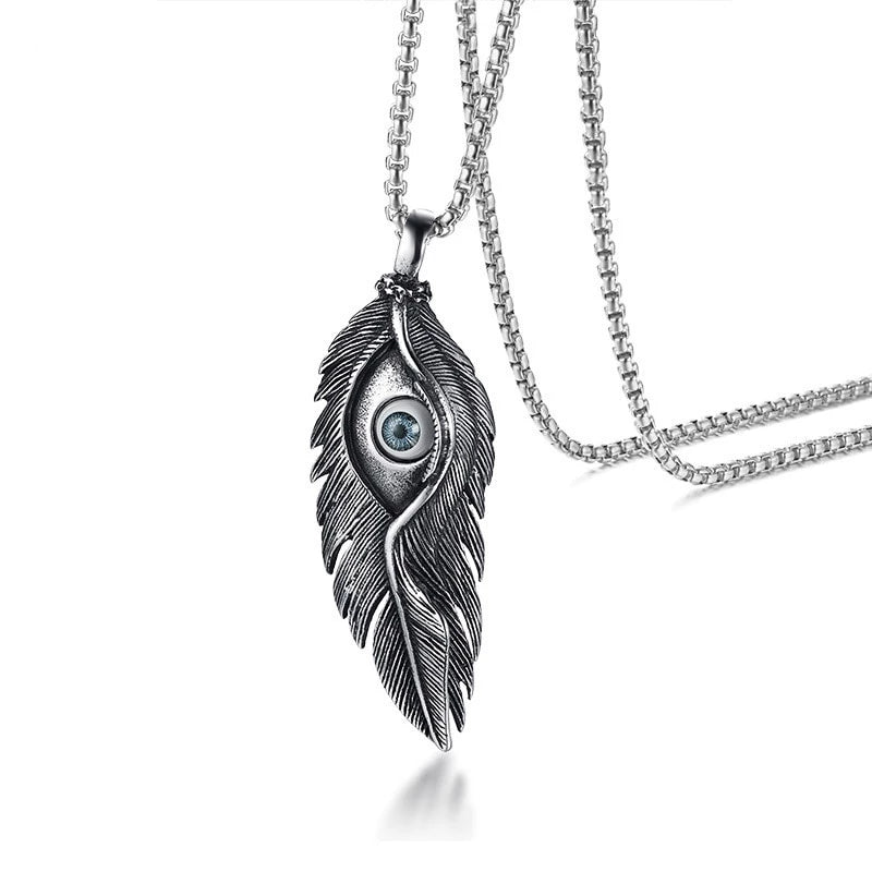 Men's Stainless Steel Feather Evil Eye Pendant Necklace