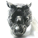 Handmade Stainless Steel Ferocious Rhinoceros Ring for Men