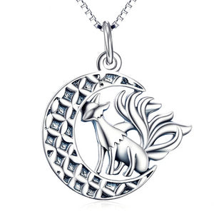 925 Sterling Silver Nine-Tailed Phoenix Fox Crescent Moon Pendant Necklace