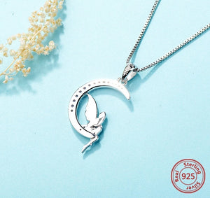 925 Sterling Silver Fairy on Crescent Moon Pendant Necklace