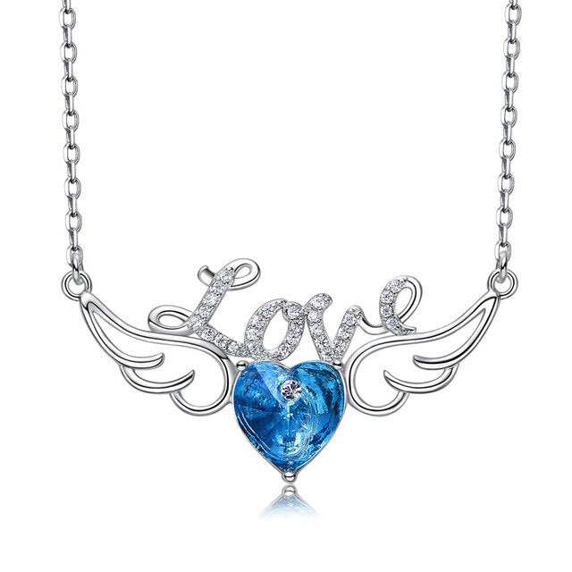 Angel Wings with Love Crystal Heart Pendant Necklace