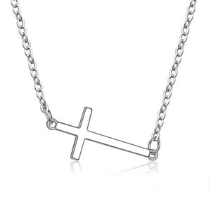 925 Sterling Silver Horizontal Sideways Crucifixion Cross Necklace