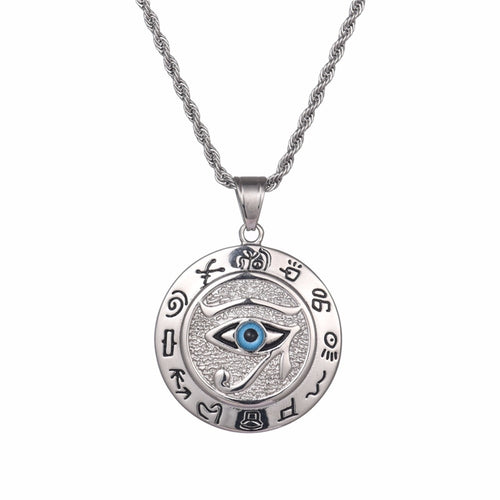 Stainless Steel Silver and Gold The Eye of Horus Pendant Necklace