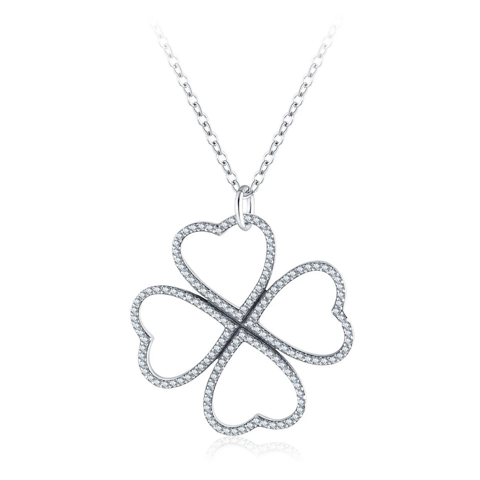 925 Sterling Silver Heart Shaped Clover Pendant Necklace