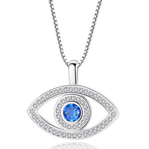 Evil Eye with Cubic Zirconia and Blue Rhinestone Pendant Necklace